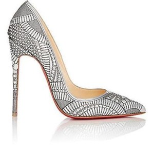 Christian Louboutin Heels Stiletto Laser Cut Nude Silver Pumps