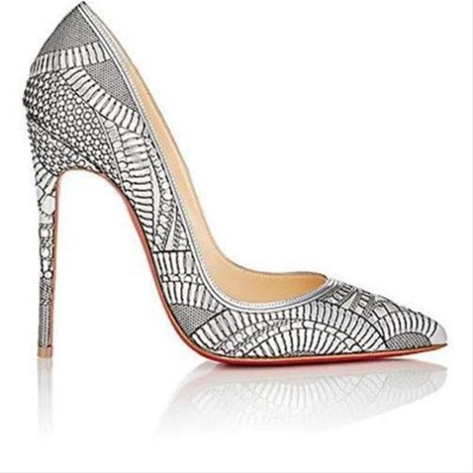 watch 70e0a 69d3a Christian Louboutin Silver Kristali 120 Laser Cut Patent Pumps Size EU 35.5  (Approx. US 5.5) Regular (M, B) 40% off retail