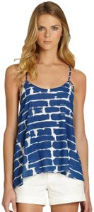 Alice + Olivia Silk Loose Pattern Double Strap Top Blue and White Brick