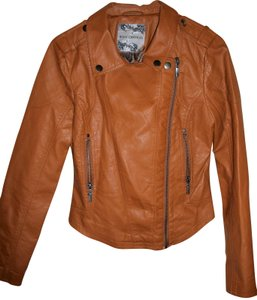 Body Central Faux Diagonal Zipper Chocolate Brown Leather Jacket