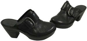 Børn Platform Black leather padded leather insoles leather lining strap metal buckle backless clogs Mules