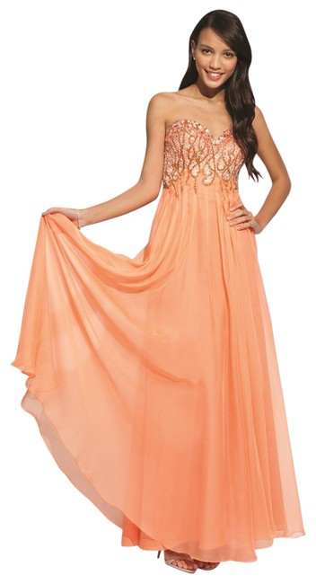 Item - Soft Orange Exquisitely Jeweled Strapless Gown -- 88079 Long Formal Dress Size 8 (M)