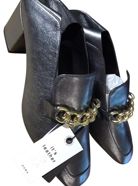 Item - Grey High Heel Leather Chain Loafers Mules/Slides Size US 6 Regular (M, B)
