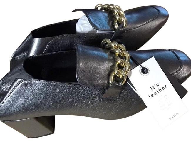 Item - Grey High Heel Leather Chain Loafers Mules/Slides Size US 8 Regular (M, B)