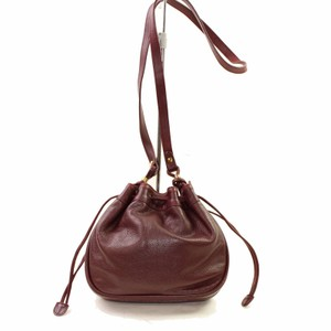 Gucci Shoulder/Cross Body Drawstring Top Mint Vintage Rare Early Chic European Style Satchel in burgundy textured and smooth leather
