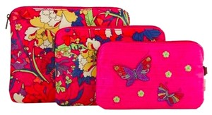 SAKROOTS ARTIST CIRCLE NEW SAKROOTS ARTIST CIRCLE 3 PIECE COSMETIC SET IN HOT PINK FLOWER POWER