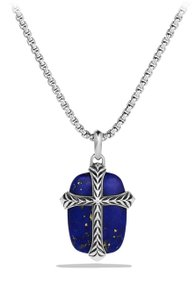 David Yurman David Yurman Blue Lapis Lazuli Chevron Cross Necklace
