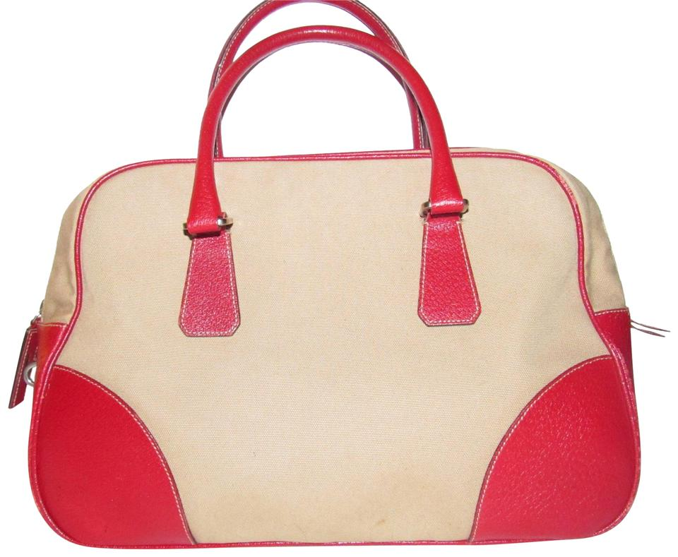 Prada Bowling Bag Canapa Vintage Purses Designer Beige Canvas And True Red Textured Leather Satchel