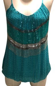 Chelsea Flower Fully Lined Adjustable Straps Sequins Beads Top turquoise
