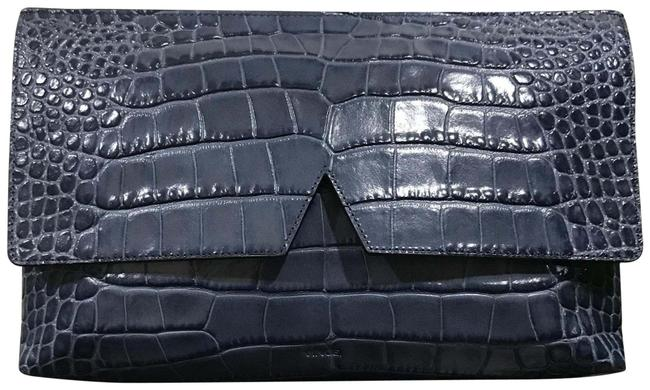 Item - Croc Embossed Navy Blue Leather Clutch