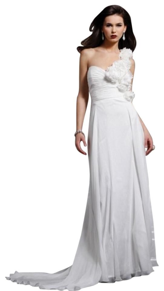 Jovani White One Shoulder Rosette Wedding -- Jv156000 Long Formal ...