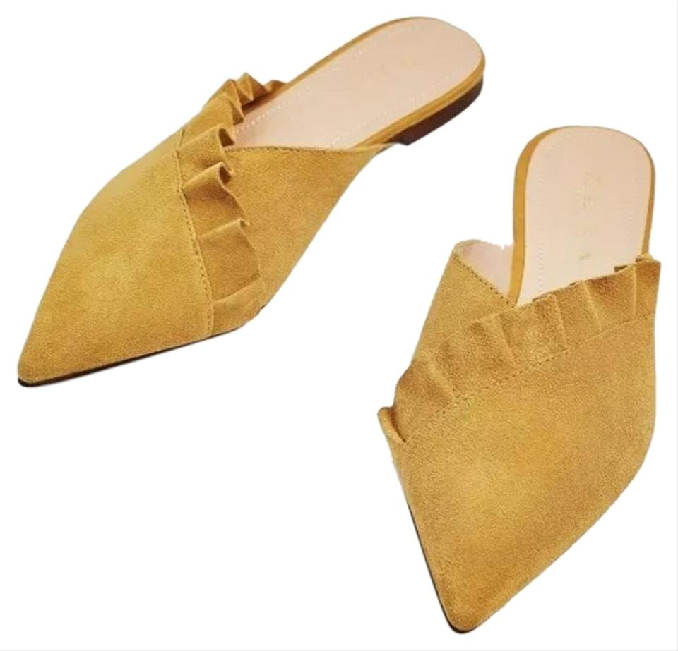 bd407e26703 Zara Mustard Flat Leather Frill Mules Slides Size US 5 Regular (M