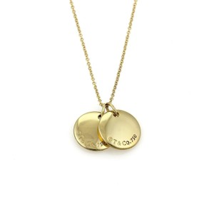 Tiffany & Co. 18k Yellow Gold Double Round Disc Pendant & Chain Necklace
