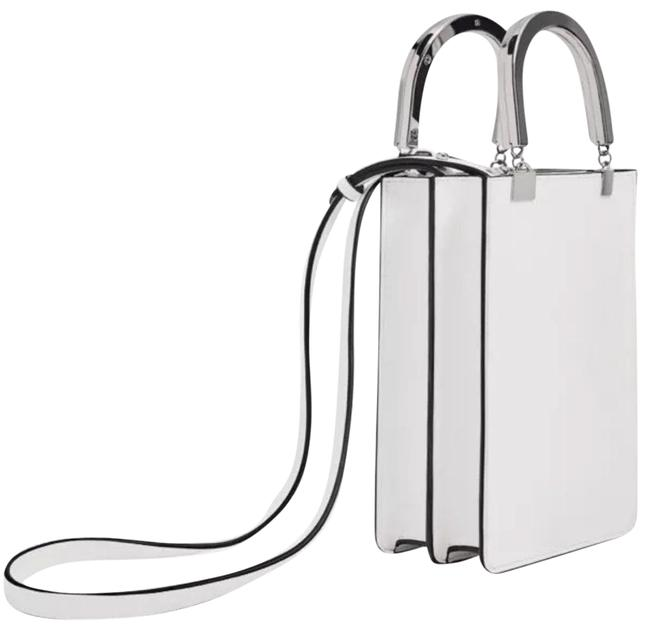 Item - Bag Mini with Metallic Handles White Tote