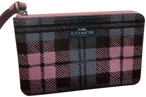 Coach Wallet Plaid Clutch Wristlet in Lilac blue multi