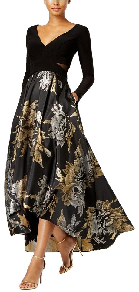 Xscape Black/Silver/Gold High-low Brocade Prom Gown Black/Silver ...