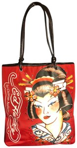 Ed Hardy Tote in red/black/white