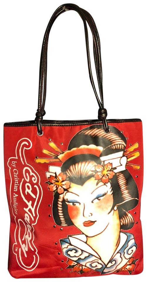 dc53e5d7362f Ed Hardy By Christian Audigier Geisha Print Red Black White Nylon ...