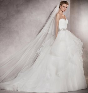 2a3d362f03f9 Pronovias Ivory White Long Tulle Cathedral Length with Gemstone Trim and  Clear Comb Bridal Veil