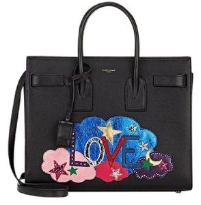 Saint Laurent Leather Applique Love Ysl Shoulder Bag
