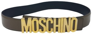 Moschino Brown leather Moschino gold-tone letters logo belt