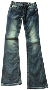 Miss Me Distressed Frayed Bling Embellished Boot Cut Jeans-Distressed