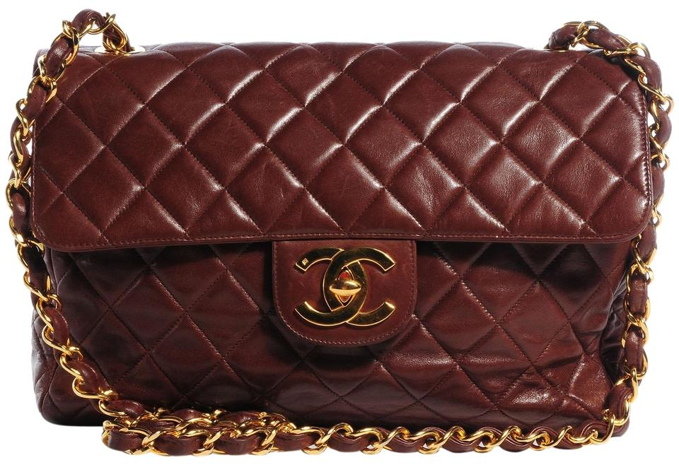 678a82745a6a Chanel Classic Flap Quilted Maxi 226789 Dark Brown Leather Shoulder Bag