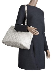 Chanel Quilted Leather Wild Stitched Tote in Off White