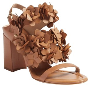 Tory Burch Leather Floral Chunky Tan Sandals