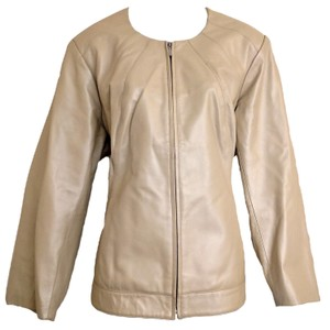 Centigrade Collarless Pearly Plus Genuine Ivory Leather Jacket