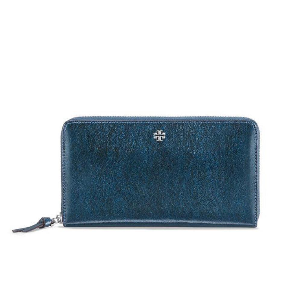 54687d722399 Tory Burch Blue Crinkle Metallic Zip Continental Wallet - Tradesy