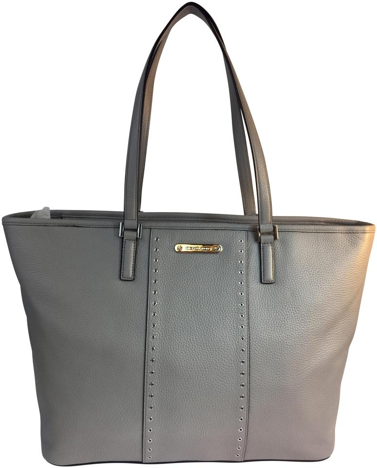 151d22319ca58 Michael Kors Mini Grommets Center Stripe Large Carryall Grey Leather Tote