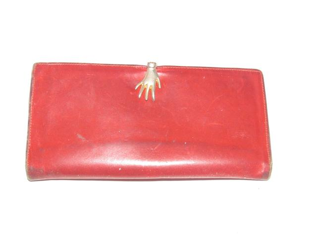 Gucci Red Leather With Gold Hand Clasp Vintage Wallets Designer Wallet Tradesy