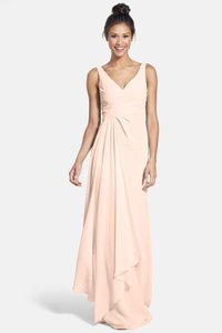 Monique Lhuillier Shell Sleeveless V-neck Chiffon Gown Formal Bridesmaid/Mob Dress Size 14 (L)