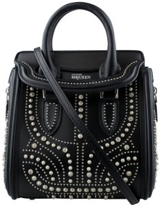 Alexander McQueen Leather Studded Front Flap Silver Mini Shoulder Bag