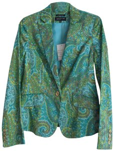 Jones New York Paisley Classic Style Lined Front Gold Buttons Multi-Color Jacket