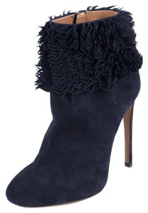 ALAÏA Leather Ruffle Ankle Suede Stiletto Blue Boots