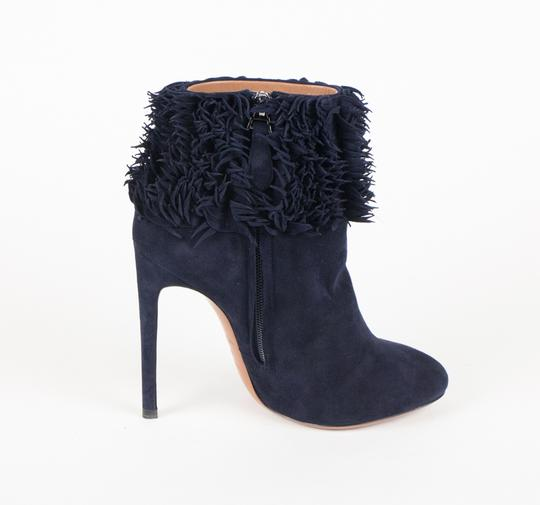 ALAA Leather Ruffle Ankle Suede Stiletto Blue Boots