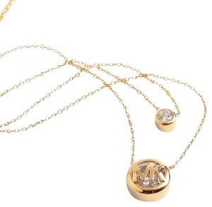 Michael Kors Michael Kors Two Stone Double Row Crystal Logo Necklace Gold