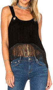 Free People Fringe Hem Sleeveless Plunge Crop Top Black