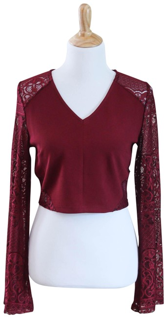 Preload https://item1.tradesy.com/images/very-j-burgundy-crop-night-out-top-size-8-m-23101605-0-1.jpg?width=400&height=650