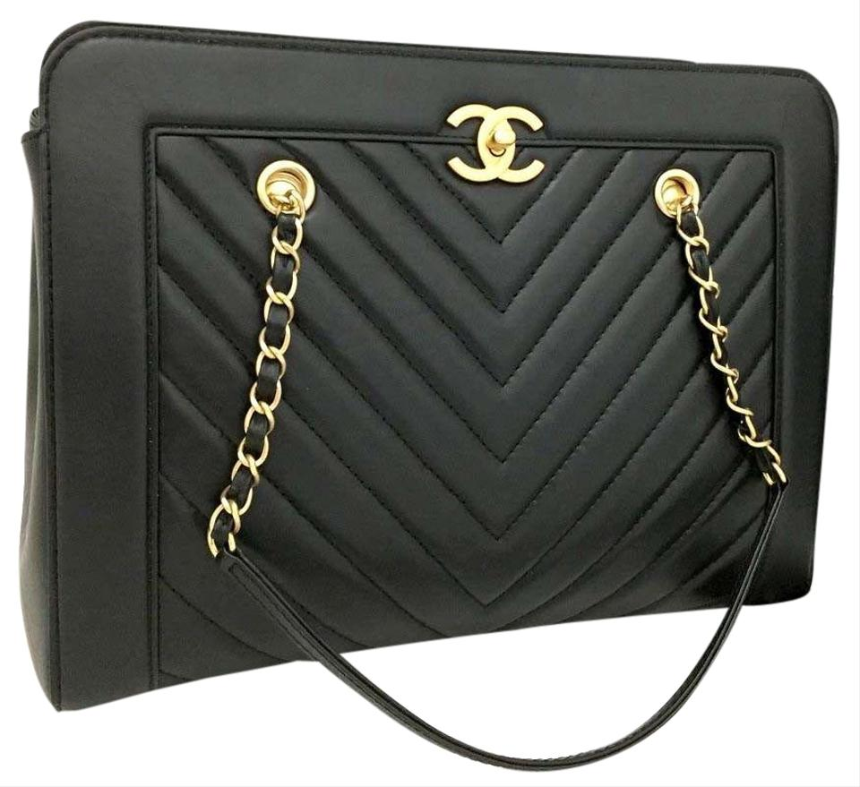 537c4c6edf65 Chanel Quilted Lambskin Gold Hardware Chevron Tote in Black 5781 NEW  CONDITION Image 0 ...