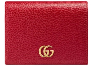 Gucci NEW Gucci Marmont Calfskin Texture Leather Card Case Bifold Wallet Bla