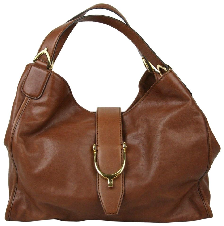 ea1e049af4c Gucci Stirrup Marrone Washed Soft Calf Medium  stirrup  296856 2100 Brown  Leather Hobo Bag