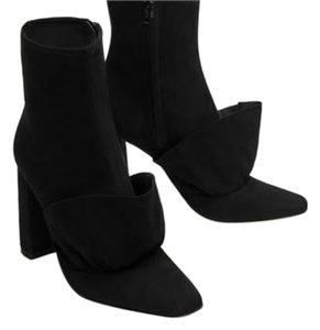 ZARA Genuine Leather Reverse Ruffle Booties Black Boots