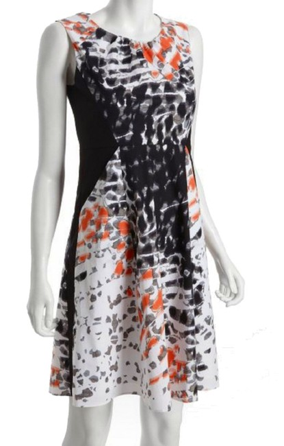 Tahari short dress NWT Super Flattering Such Happy Colors Tigerlily Print Gathered Scoop Neck Front Side Pockets on Tradesy