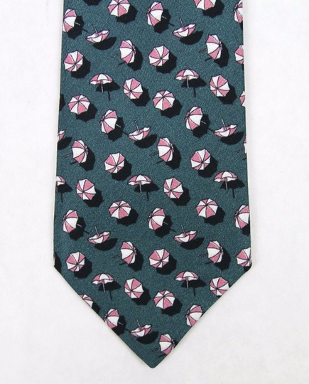 Gucci Green Pink Men's Silk Neck with Parasol Print 336741 4472 Tie/Bowtie