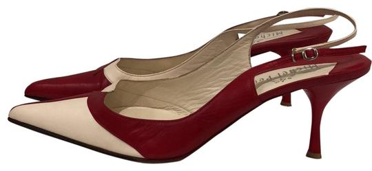 Preload https://item1.tradesy.com/images/michel-perry-red-and-off-white-beige-leather-slingback-pumps-size-eu-40-approx-us-10-regular-m-b-23101745-0-3.jpg?width=440&height=440