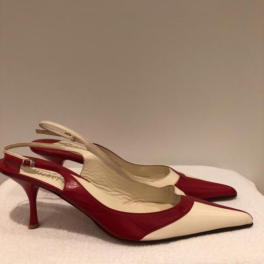 Michel Perry Red and Off White Pumps