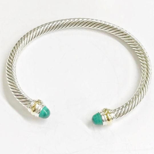 David Yurman David Yurman Never Worn 14k and Sterling Silver Malachite Cable Bangle